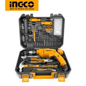INGCO 111 Pcs Household Tools Set with 550W Impact Drill HKTHP11111
